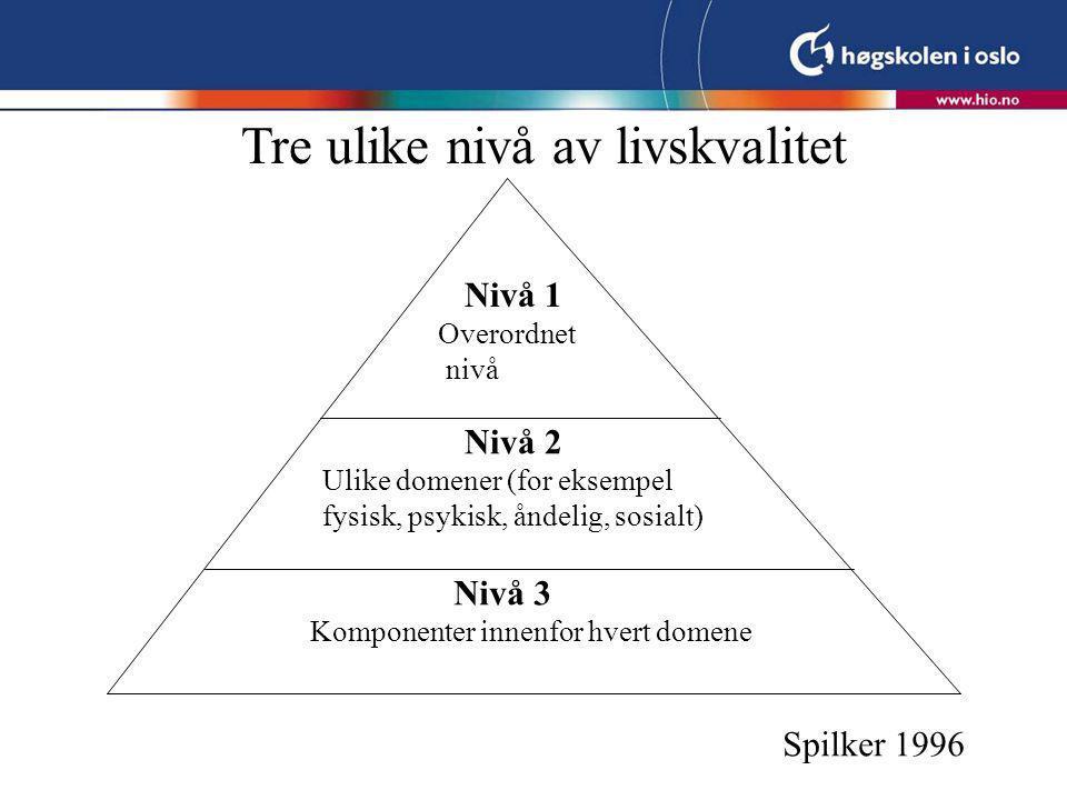 Nivå 1 Overordnet nivå Nivå 2 Ulike domener (for eksempel fysisk, psykisk, åndelig, sosialt) Nivå 3 Komponenter innenfor hvert domene Spilker 1996 Tre