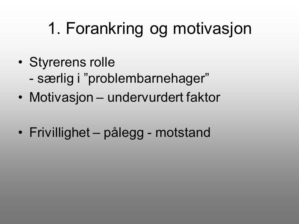 """1. Forankring og motivasjon Styrerens rolle - særlig i """"problembarnehager"""" Motivasjon – undervurdert faktor Frivillighet – pålegg - motstand"""