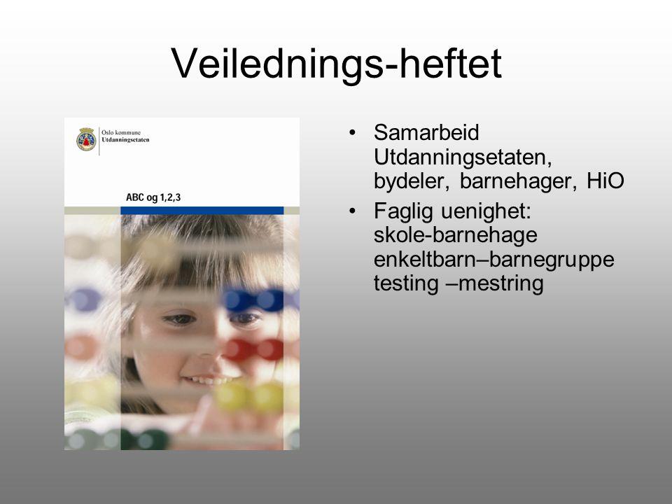 Veilednings-heftet Samarbeid Utdanningsetaten, bydeler, barnehager, HiO Faglig uenighet: skole-barnehage enkeltbarn–barnegruppe testing –mestring