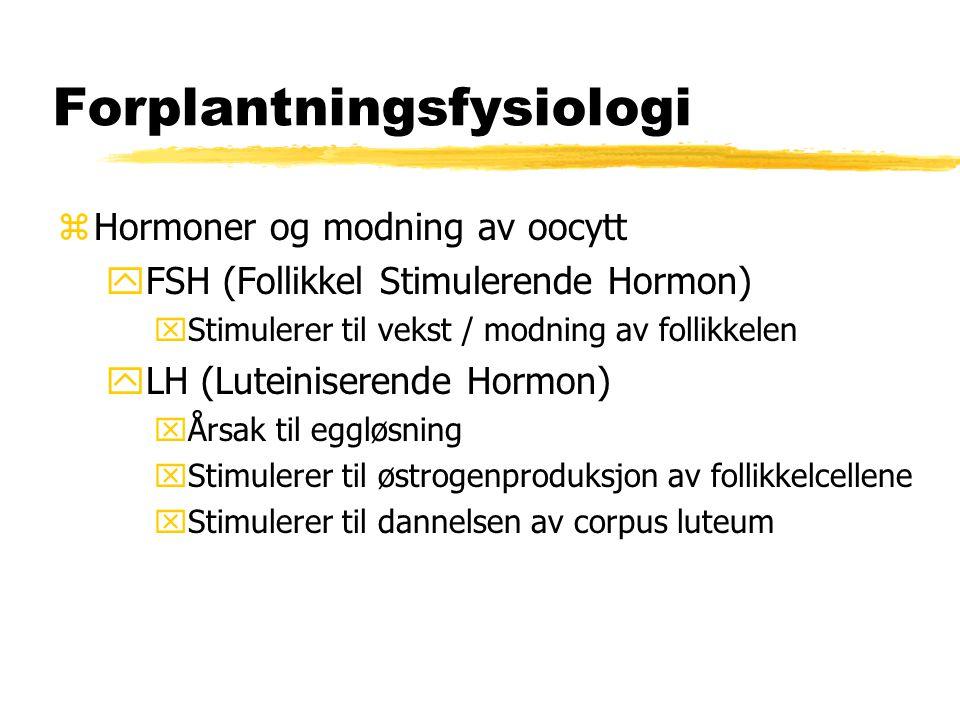 Forplantningsfysiologi zHormoner og modning av oocytt yFSH (Follikkel Stimulerende Hormon) xStimulerer til vekst / modning av follikkelen yLH (Luteini