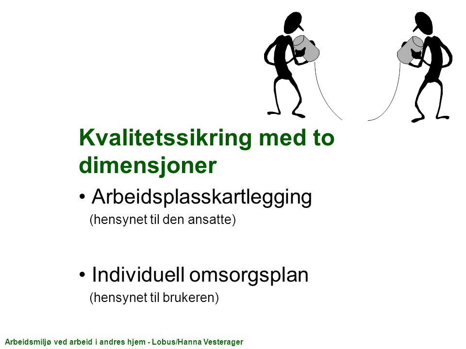 Kvalitetssikring med to dimensjoner Arbeidsplasskartlegging (hensynet til den ansatte) Individuell omsorgsplan (hensynet til brukeren) Arbeidsmiljø ved arbeid i andres hjem - Lobus/Hanna Vesterager