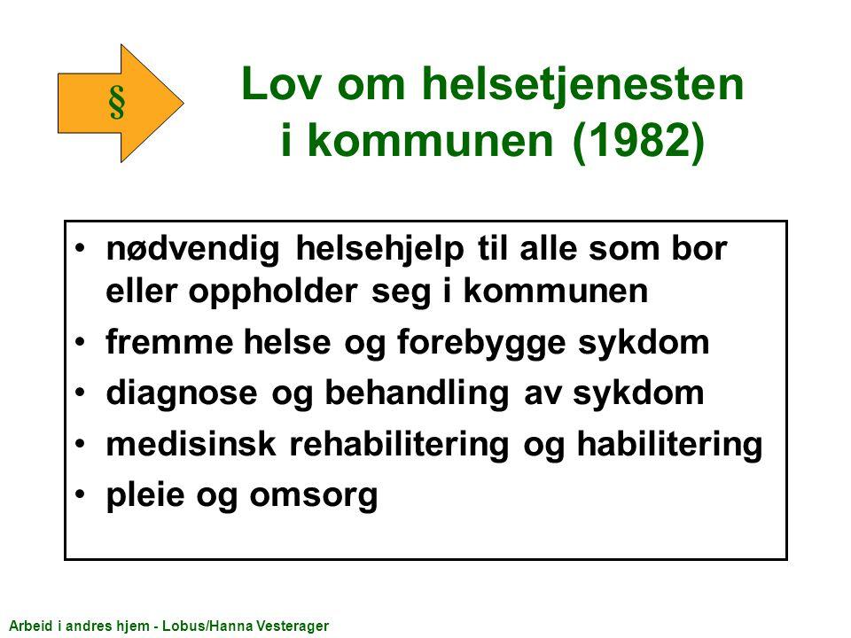 Lov om sosiale tjenester (1991) bistand til praktiske gjøremål i og utenfor hjemmet hjemmehjelp, støttekontakt, avlastningsordninger, omsorgslønn.