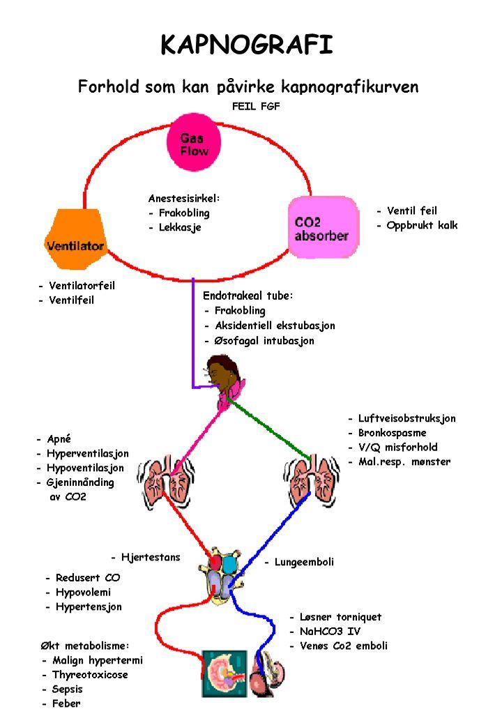 Kapnografi Terminologi I Kapnografi –En grafisk fremstilling av CO 2 konsentrasjonen i forhold til tid gjennom en respiratorisk sirkel.