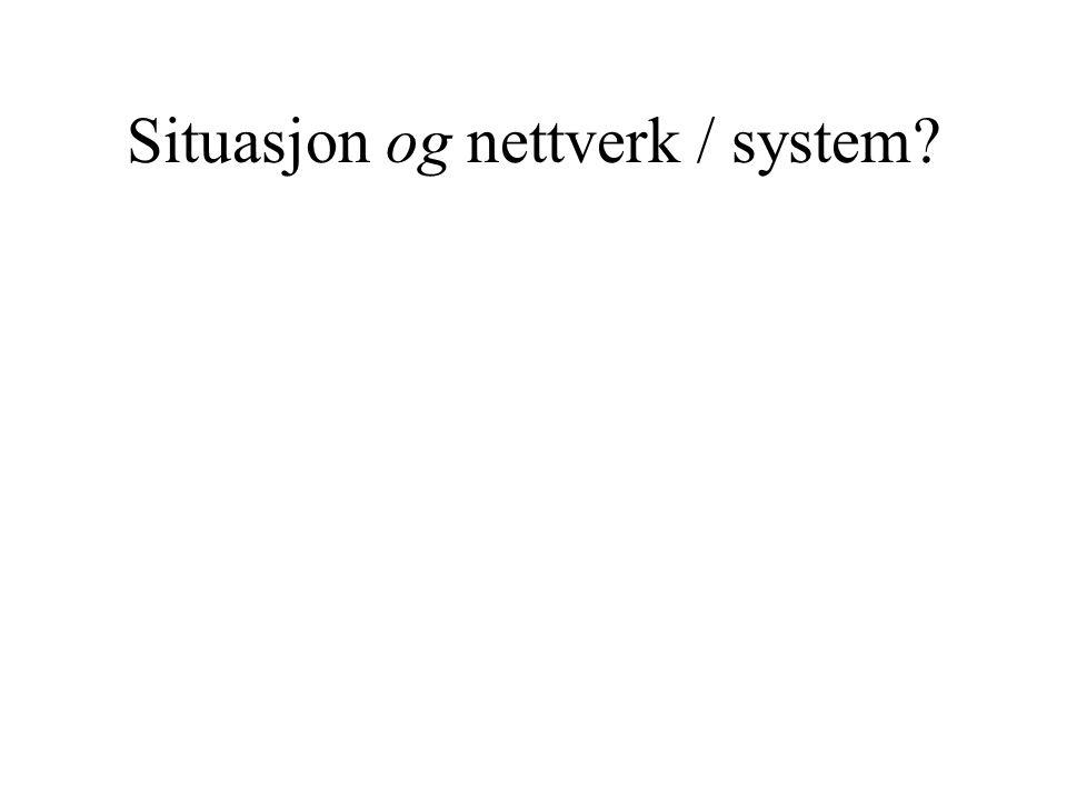 Situasjon og nettverk / system?