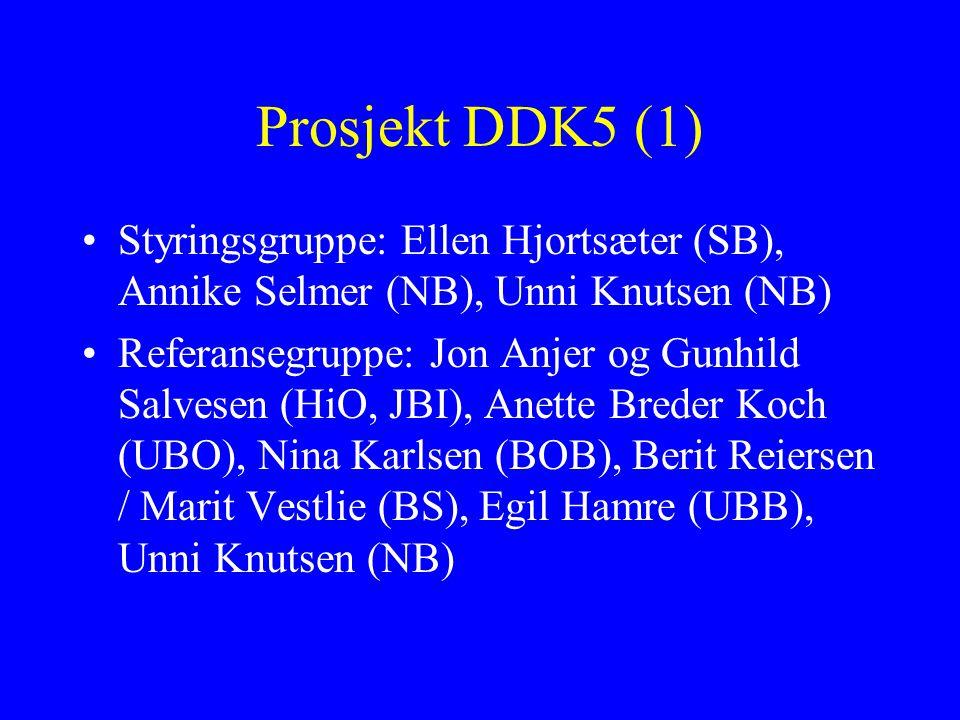 Prosjekt DDK5 (1) Styringsgruppe: Ellen Hjortsæter (SB), Annike Selmer (NB), Unni Knutsen (NB) Referansegruppe: Jon Anjer og Gunhild Salvesen (HiO, JB