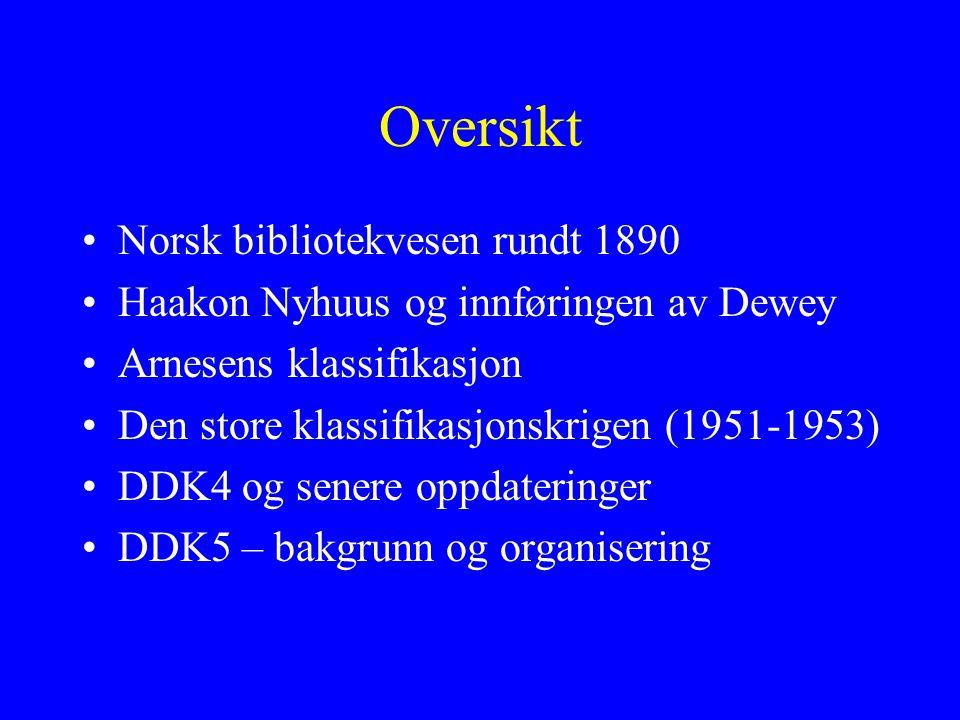 Oversikt Norsk bibliotekvesen rundt 1890 Haakon Nyhuus og innføringen av Dewey Arnesens klassifikasjon Den store klassifikasjonskrigen (1951-1953) DDK