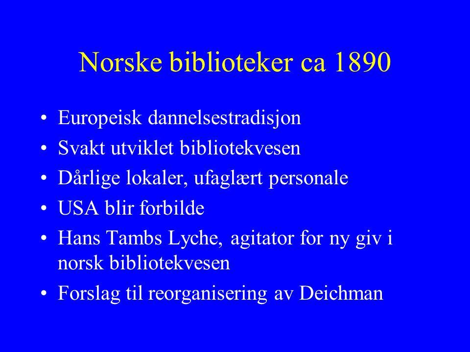 Norske biblioteker ca 1890 Europeisk dannelsestradisjon Svakt utviklet bibliotekvesen Dårlige lokaler, ufaglært personale USA blir forbilde Hans Tambs