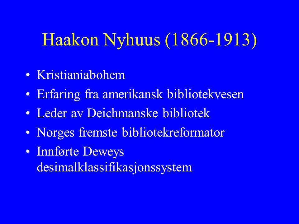 Haakon Nyhuus (1866-1913) Kristianiabohem Erfaring fra amerikansk bibliotekvesen Leder av Deichmanske bibliotek Norges fremste bibliotekreformator Inn