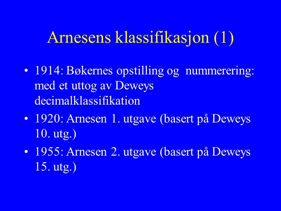 Arnesens klassifikasjon (1) 1914: Bøkernes opstilling og nummerering: med et uttog av Deweys decimalklassifikation 1920: Arnesen 1. utgave (basert på