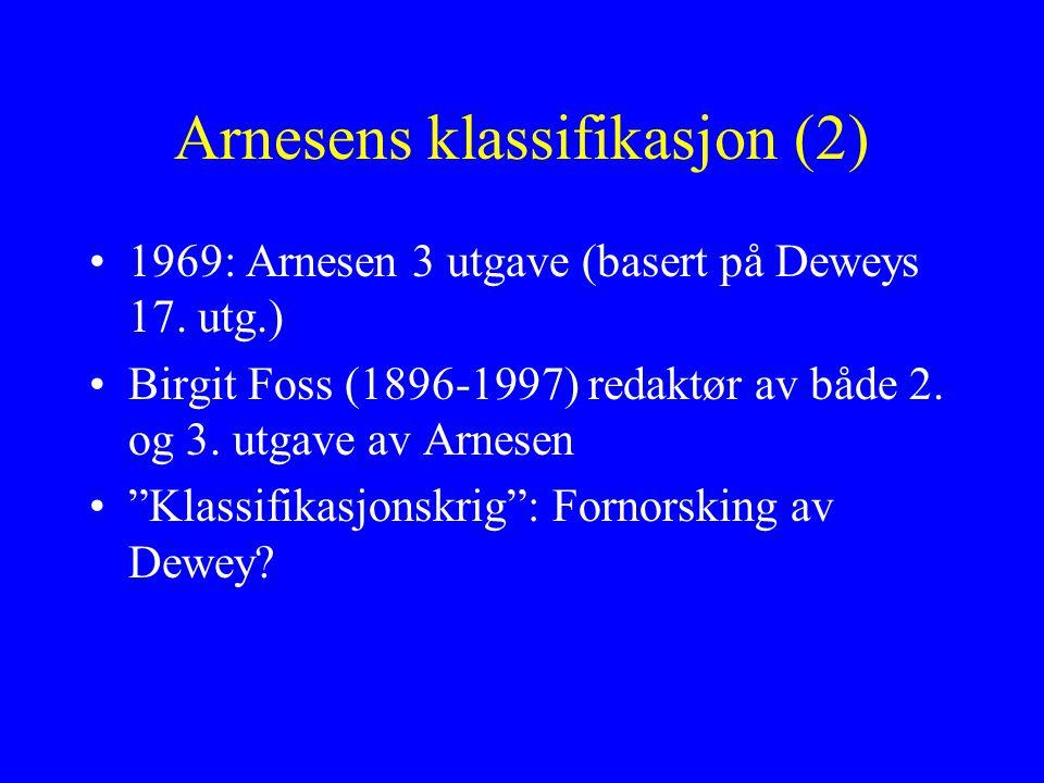 """Arnesens klassifikasjon (2) 1969: Arnesen 3 utgave (basert på Deweys 17. utg.) Birgit Foss (1896-1997) redaktør av både 2. og 3. utgave av Arnesen """"Kl"""