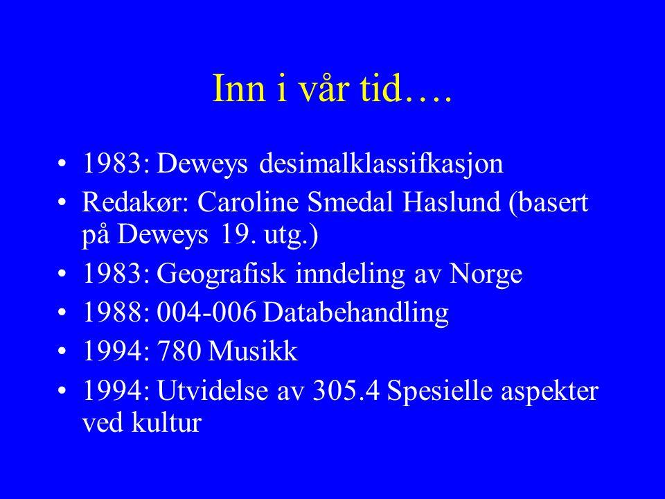 Inn i vår tid…. 1983: Deweys desimalklassifkasjon Redakør: Caroline Smedal Haslund (basert på Deweys 19. utg.) 1983: Geografisk inndeling av Norge 198