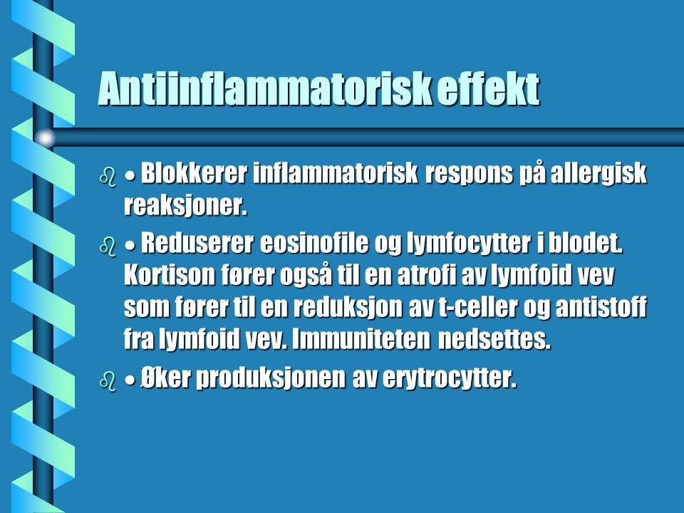 Antiinflammatorisk effekt b  Blokkerer inflammatorisk respons på allergisk reaksjoner. b  Reduserer eosinofile og lymfocytter i blodet. Kortison før