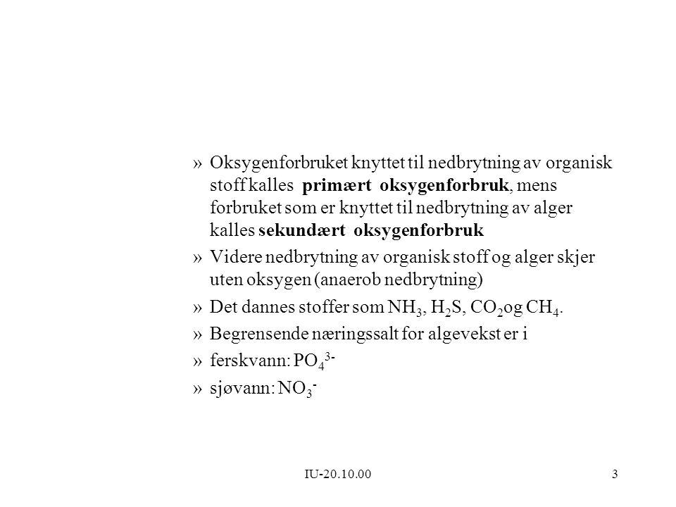 IU-20.10.003 »Oksygenforbruket knyttet til nedbrytning av organisk stoff kalles primært oksygenforbruk, mens forbruket som er knyttet til nedbrytning