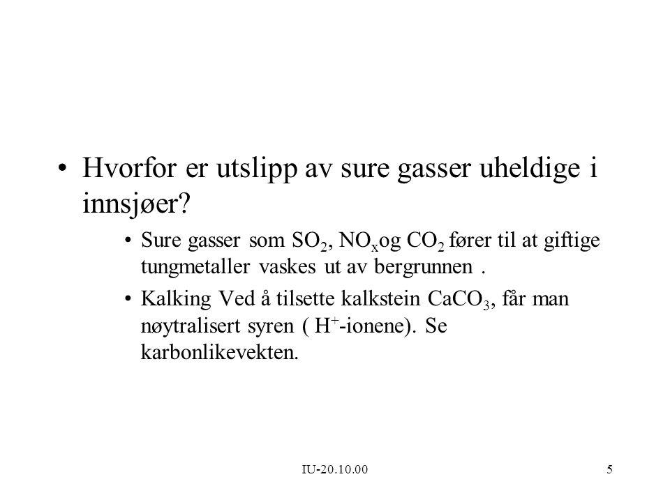 IU-20.10.005 Hvorfor er utslipp av sure gasser uheldige i innsjøer? Sure gasser som SO 2, NO x og CO 2 fører til at giftige tungmetaller vaskes ut av