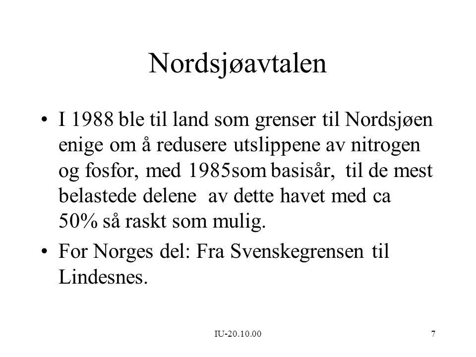 IU-20.10.007 Nordsjøavtalen I 1988 ble til land som grenser til Nordsjøen enige om å redusere utslippene av nitrogen og fosfor, med 1985som basisår, t