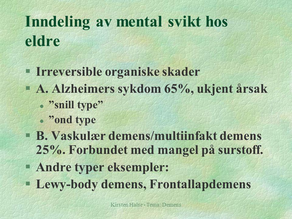"""Kirsten Halse - Tema: Demens Inndeling av mental svikt hos eldre §Irreversible organiske skader §A. Alzheimers sykdom 65%, ukjent årsak l """"snill type"""""""