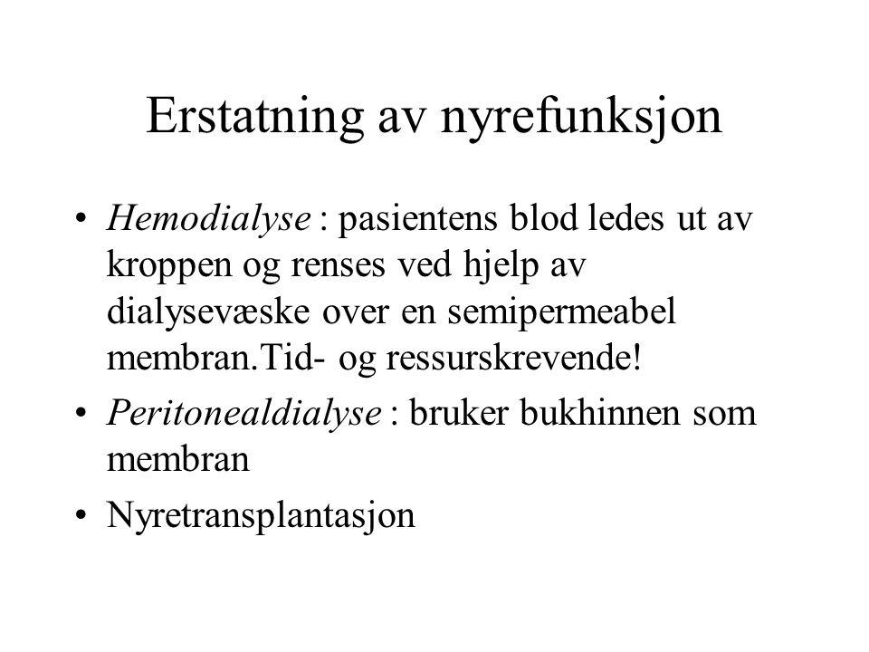 Erstatning av nyrefunksjon Hemodialyse : pasientens blod ledes ut av kroppen og renses ved hjelp av dialysevæske over en semipermeabel membran.Tid- og