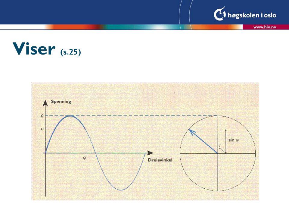 Resistoren – resistiv belastning Ohms og kirchoffs lover gjelder også for vekselstrøm.
