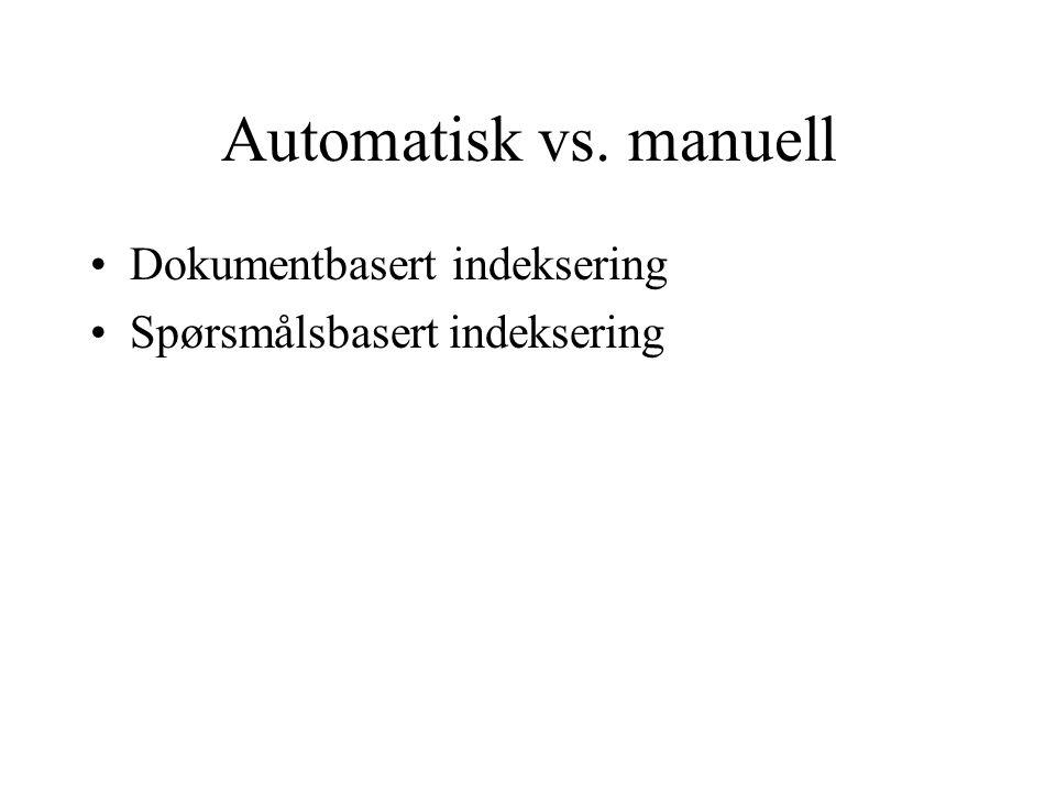 Automatisk vs. manuell Dokumentbasert indeksering Spørsmålsbasert indeksering