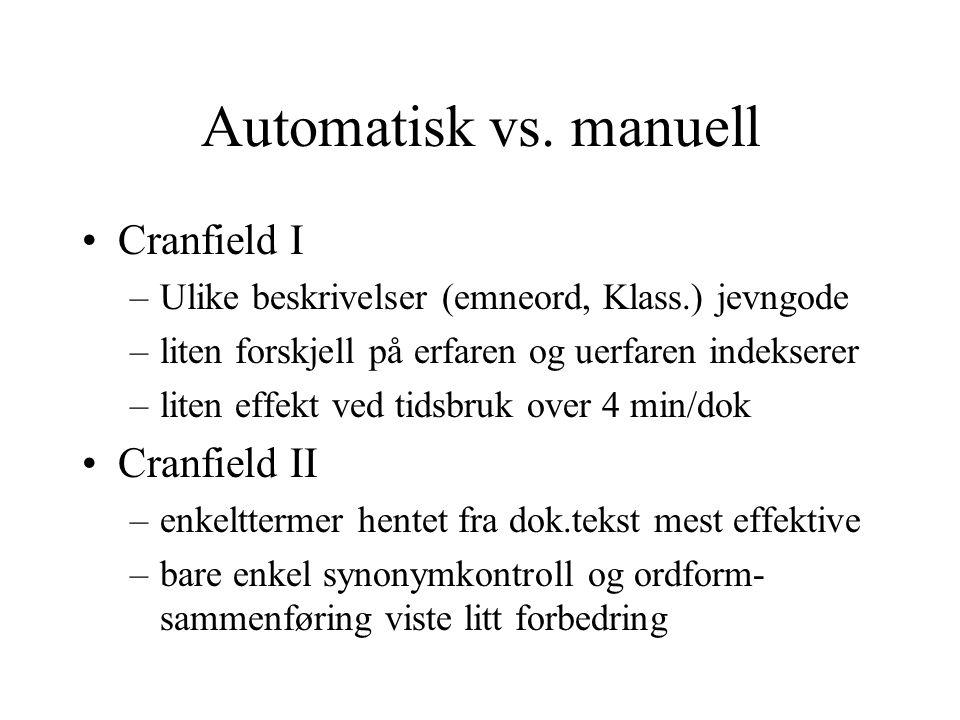 Automatisk vs. manuell Cranfield I –Ulike beskrivelser (emneord, Klass.) jevngode –liten forskjell på erfaren og uerfaren indekserer –liten effekt ved