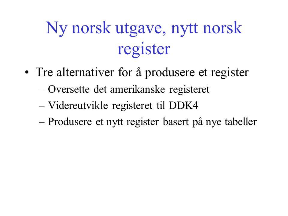 Ny norsk utgave, nytt norsk register Tre alternativer for å produsere et register –Oversette det amerikanske registeret –Videreutvikle registeret til