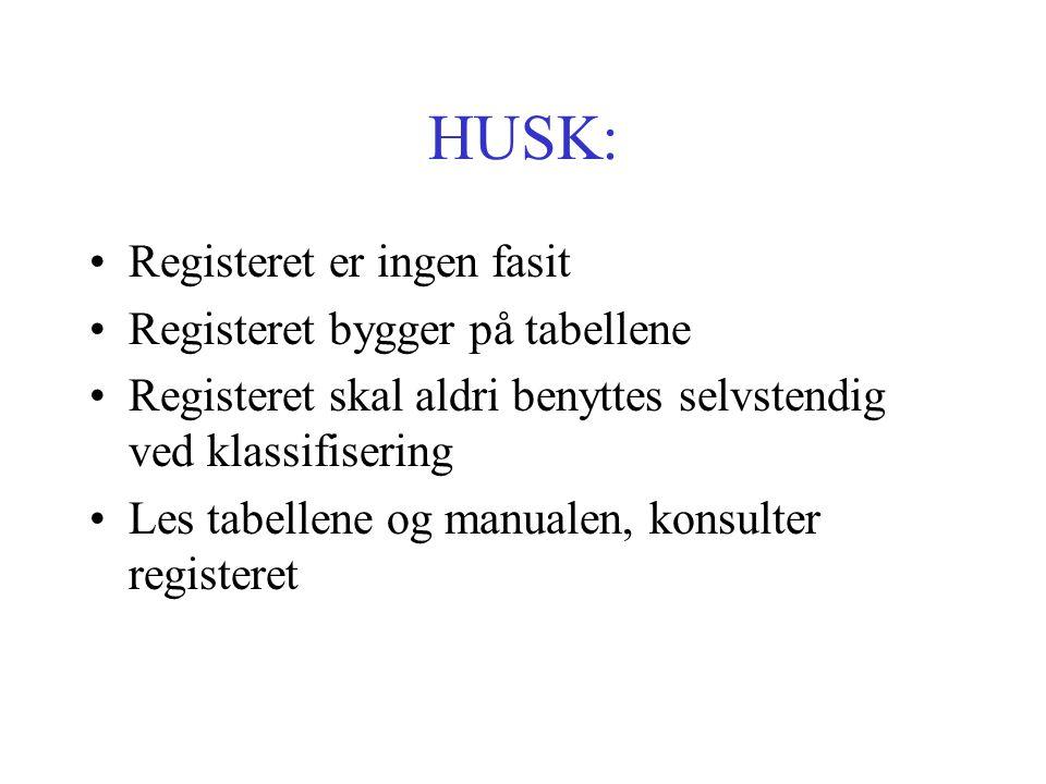 HUSK: Registeret er ingen fasit Registeret bygger på tabellene Registeret skal aldri benyttes selvstendig ved klassifisering Les tabellene og manualen