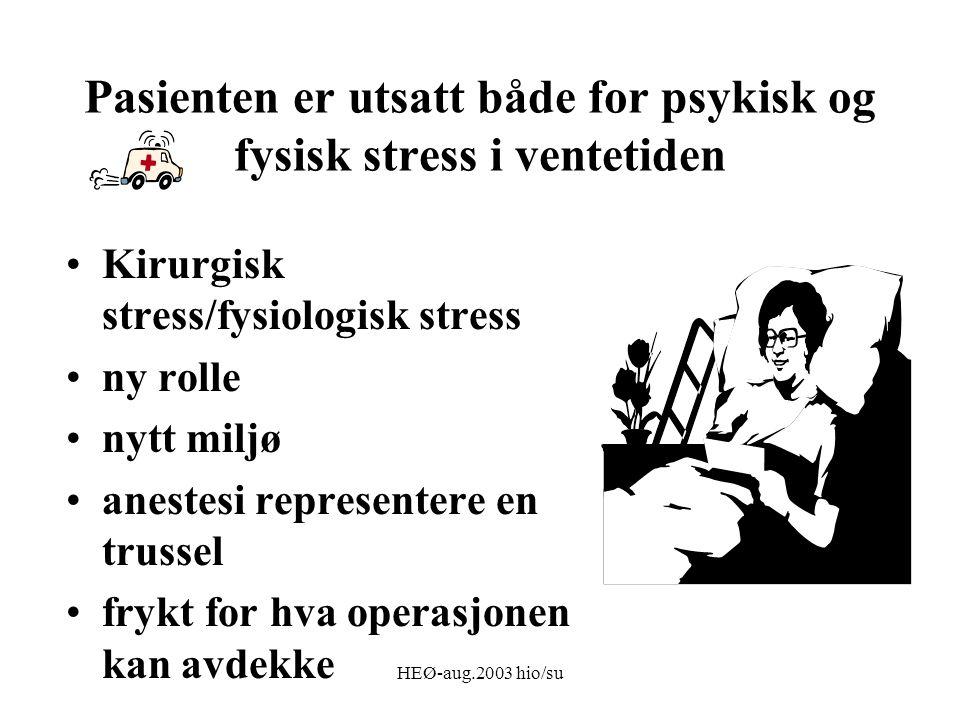 HEØ-aug.2003 hio/su Pasienten er utsatt både for psykisk og fysisk stress i ventetiden Kirurgisk stress/fysiologisk stress ny rolle nytt miljø anestesi representere en trussel frykt for hva operasjonen kan avdekke