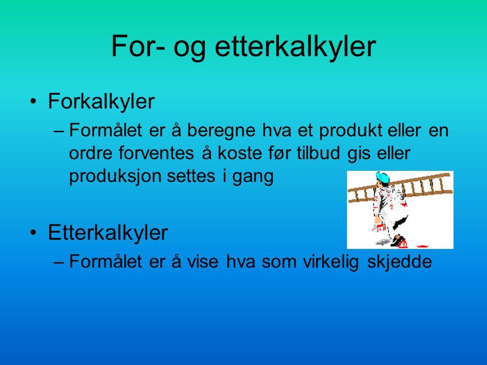 For- og etterkalkyler Forkalkyler –Formålet er å beregne hva et produkt eller en ordre forventes å koste før tilbud gis eller produksjon settes i gang