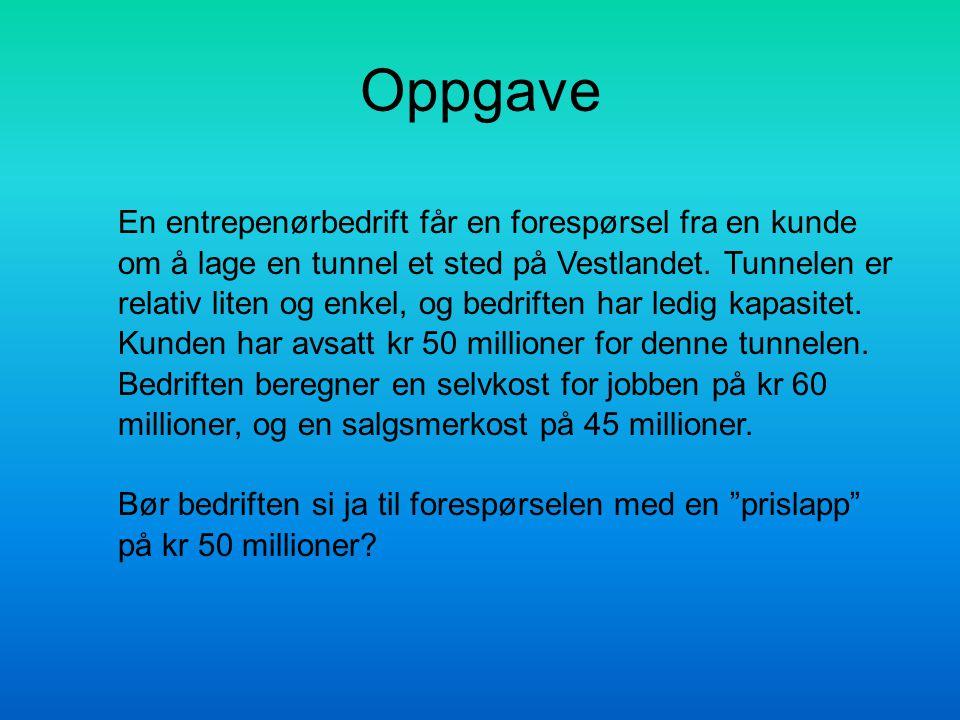 Oppgave En entrepenørbedrift får en forespørsel fra en kunde om å lage en tunnel et sted på Vestlandet. Tunnelen er relativ liten og enkel, og bedrift