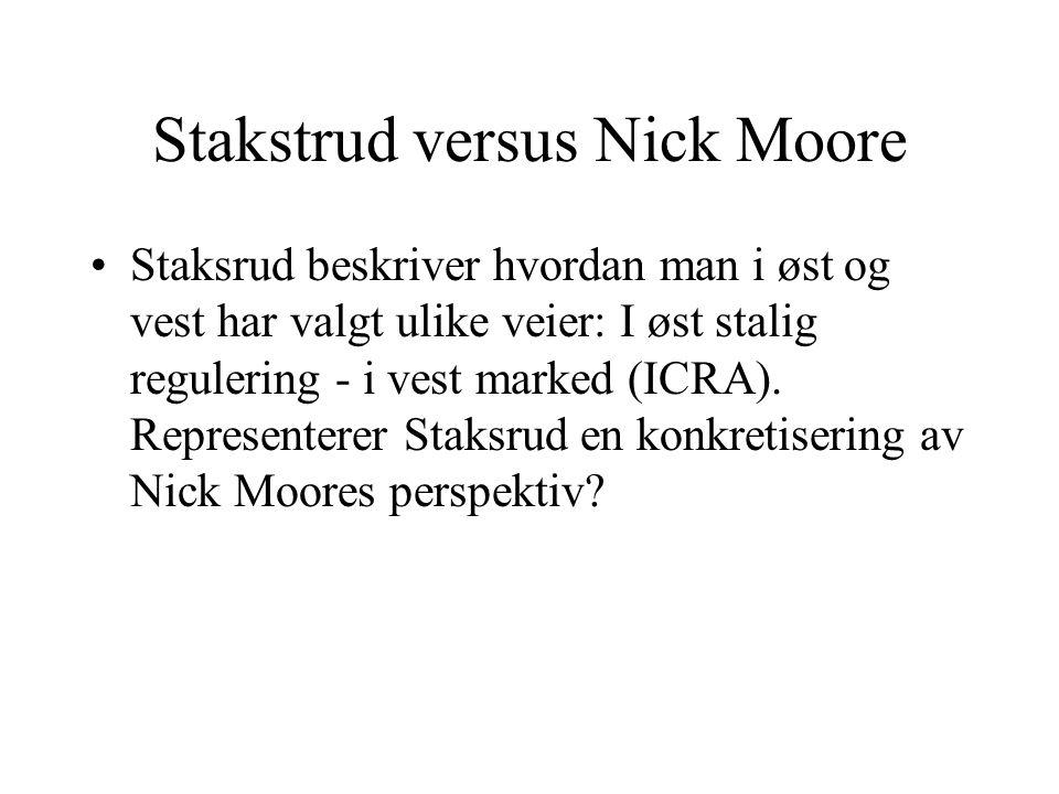 Stakstrud versus Nick Moore Staksrud beskriver hvordan man i øst og vest har valgt ulike veier: I øst stalig regulering - i vest marked (ICRA). Repres