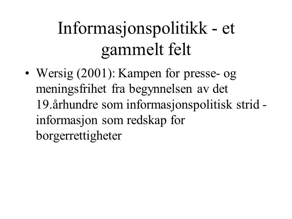 Informasjonspolitikk - et gammelt felt Wersig (2001): Kampen for presse- og meningsfrihet fra begynnelsen av det 19.århundre som informasjonspolitisk
