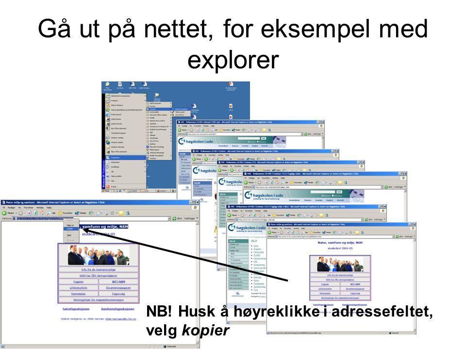 Gå ut på nettet, for eksempel med explorer NB! Husk å høyreklikke i adressefeltet, velg kopier