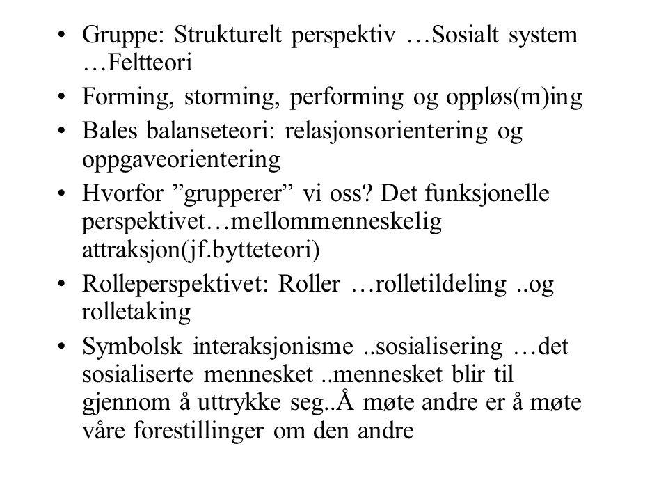 Gruppe: Strukturelt perspektiv …Sosialt system …Feltteori Forming, storming, performing og oppløs(m)ing Bales balanseteori: relasjonsorientering og op