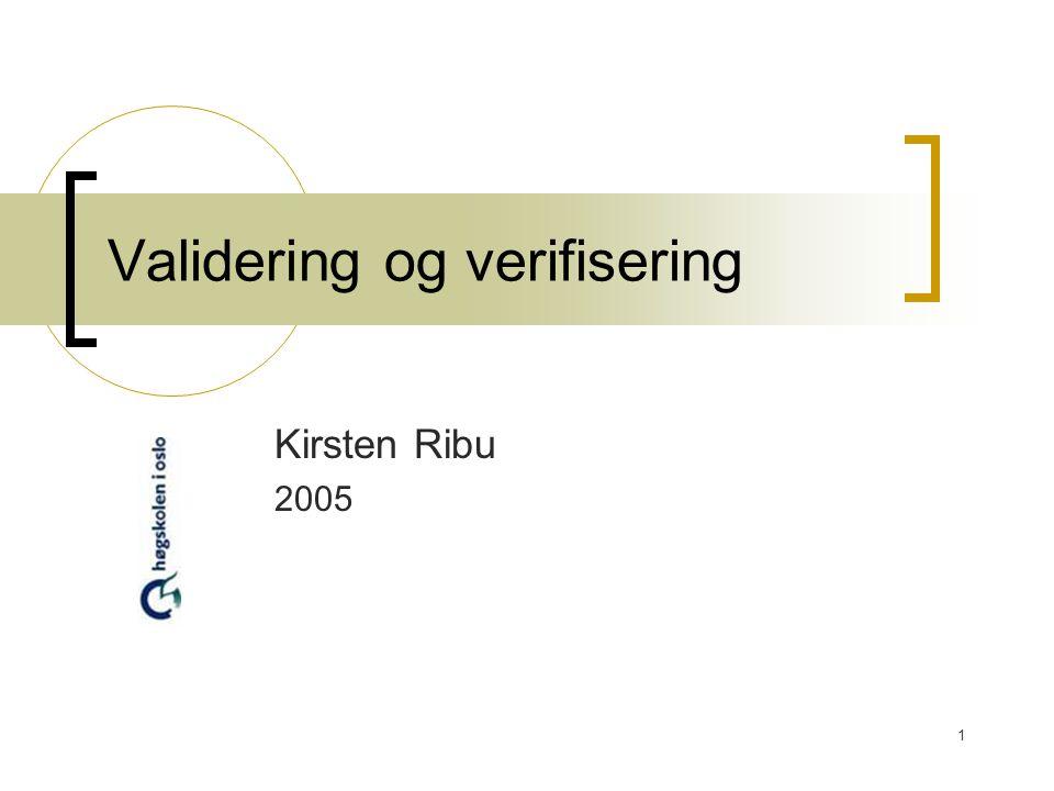 2 I dag Validering og verifisering Inspeksjon Testing