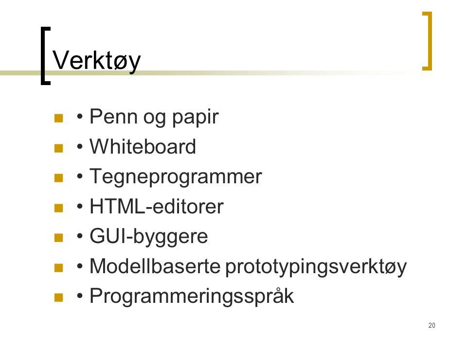 20 Verktøy Penn og papir Whiteboard Tegneprogrammer HTML-editorer GUI-byggere Modellbaserte prototypingsverktøy Programmeringsspråk