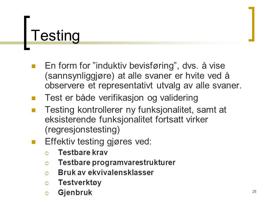28 Testing En form for induktiv bevisføring , dvs.