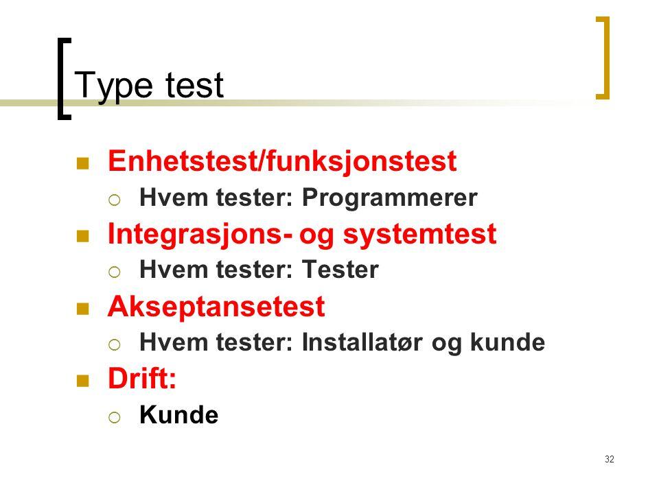 32 Type test Enhetstest/funksjonstest  Hvem tester: Programmerer Integrasjons- og systemtest  Hvem tester: Tester Akseptansetest  Hvem tester: Installatør og kunde Drift:  Kunde