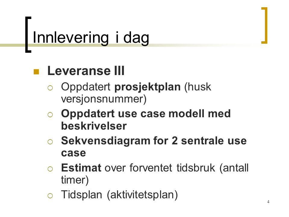 4 Innlevering i dag Leveranse III  Oppdatert prosjektplan (husk versjonsnummer)  Oppdatert use case modell med beskrivelser  Sekvensdiagram for 2 sentrale use case  Estimat over forventet tidsbruk (antall timer)  Tidsplan (aktivitetsplan)