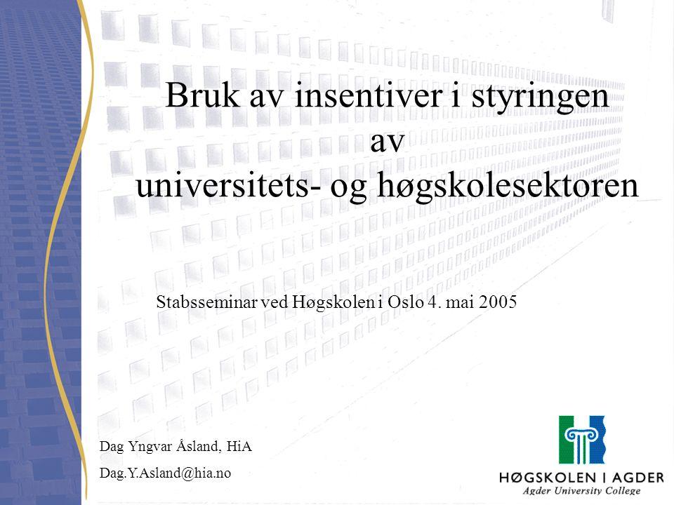 Bruk av insentiver i styringen av universitets- og høgskolesektoren Stabsseminar ved Høgskolen i Oslo 4. mai 2005 Dag Yngvar Åsland, HiA Dag.Y.Asland@