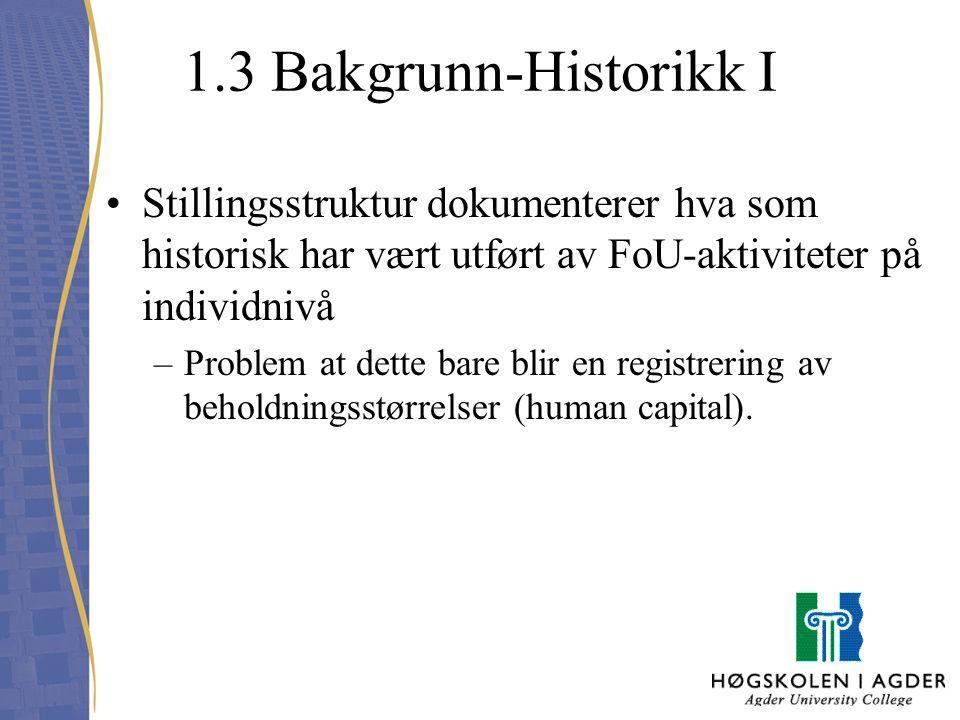 1.3 Bakgrunn-Historikk I Stillingsstruktur dokumenterer hva som historisk har vært utført av FoU-aktiviteter på individnivå –Problem at dette bare bli