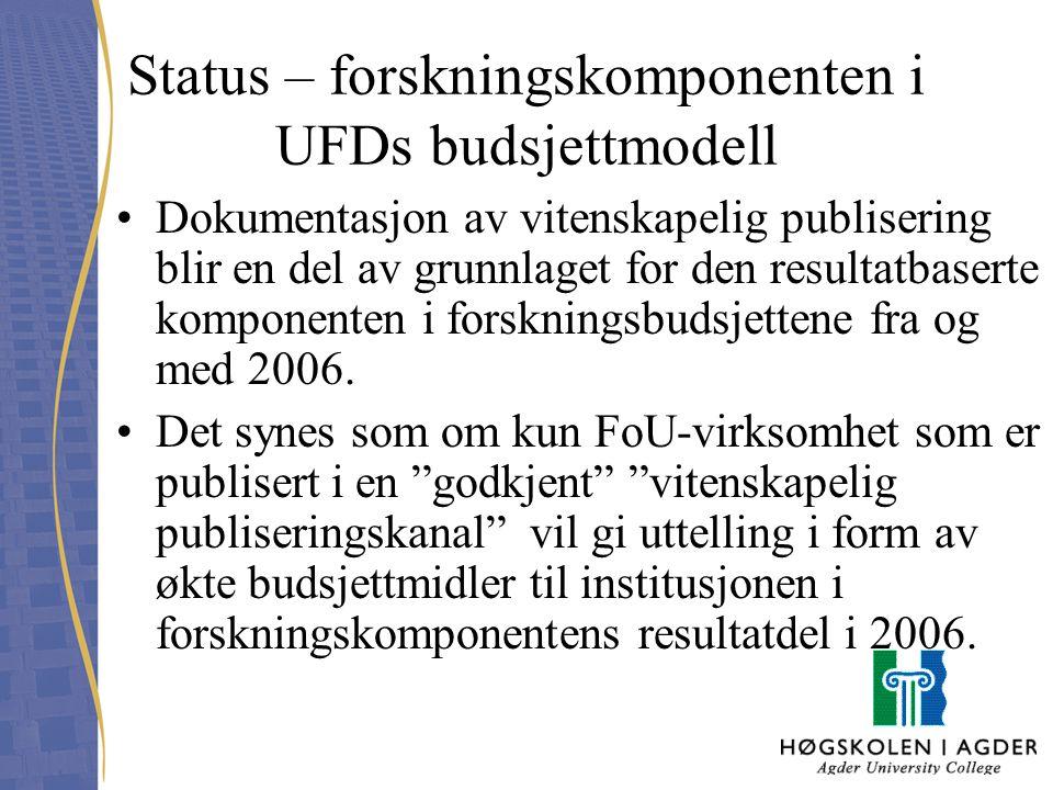 Status – forskningskomponenten i UFDs budsjettmodell Dokumentasjon av vitenskapelig publisering blir en del av grunnlaget for den resultatbaserte komp