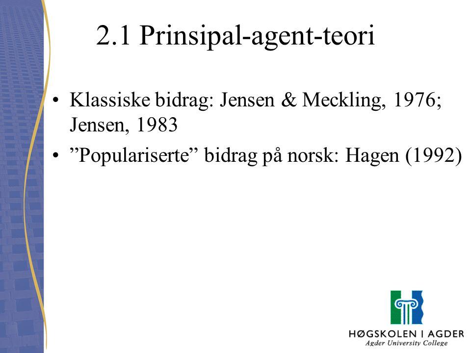 "2.1 Prinsipal-agent-teori Klassiske bidrag: Jensen & Meckling, 1976; Jensen, 1983 ""Populariserte"" bidrag på norsk: Hagen (1992)"