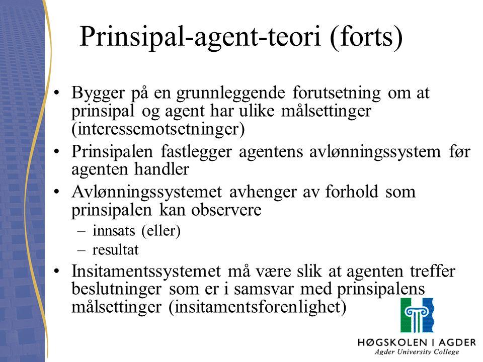 Prinsipal-agent-teori (forts) Bygger på en grunnleggende forutsetning om at prinsipal og agent har ulike målsettinger (interessemotsetninger) Prinsipa