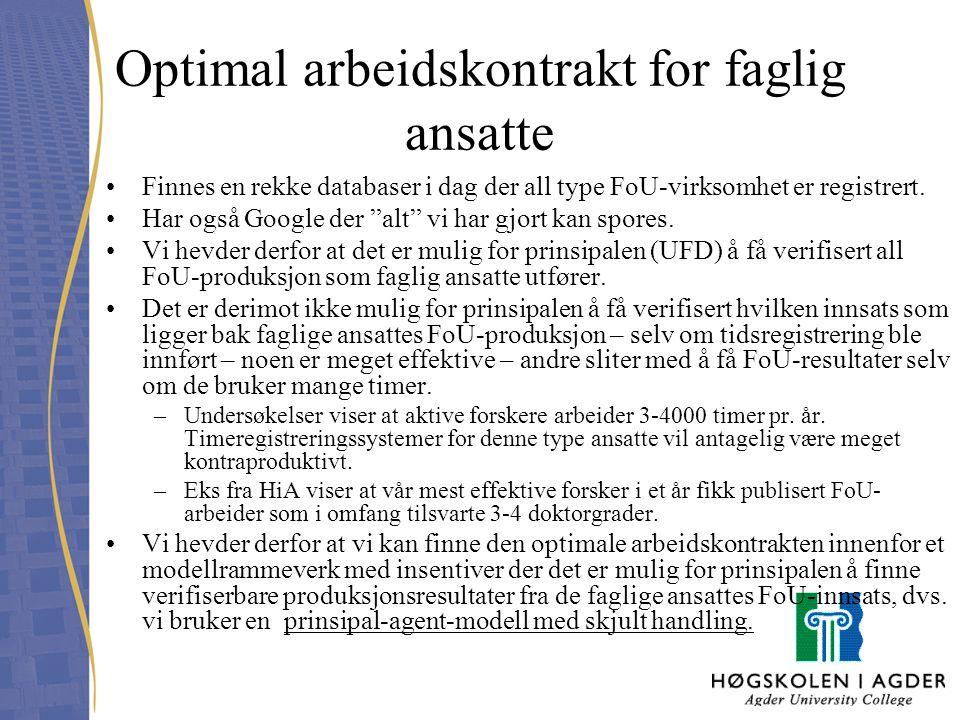 """Optimal arbeidskontrakt for faglig ansatte Finnes en rekke databaser i dag der all type FoU-virksomhet er registrert. Har også Google der """"alt"""" vi har"""