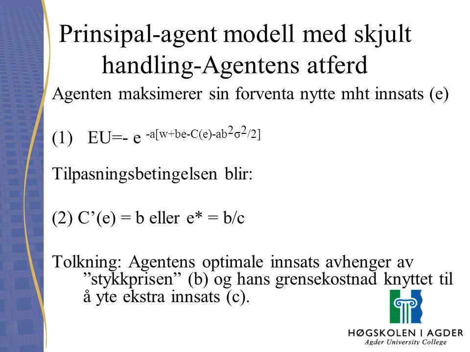 Prinsipal-agent modell med skjult handling-Agentens atferd Agenten maksimerer sin forventa nytte mht innsats (e) (1) EU=- e -a[w+be-C(e)-ab 2 σ 2 /2]