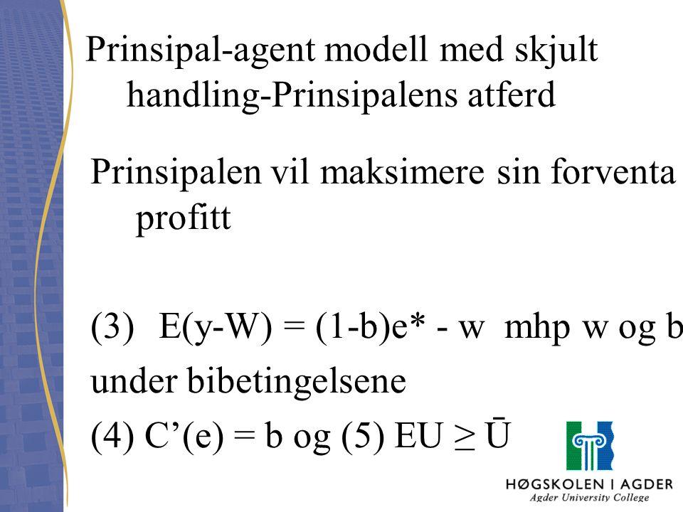 Prinsipal-agent modell med skjult handling-Prinsipalens atferd Prinsipalen vil maksimere sin forventa profitt (3) E(y-W) = (1-b)e* - w mhp w og b unde
