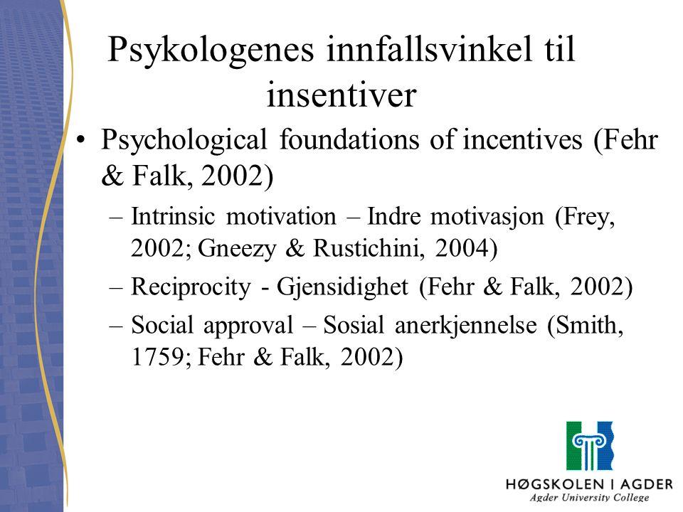 Psykologenes innfallsvinkel til insentiver Psychological foundations of incentives (Fehr & Falk, 2002) –Intrinsic motivation – Indre motivasjon (Frey,