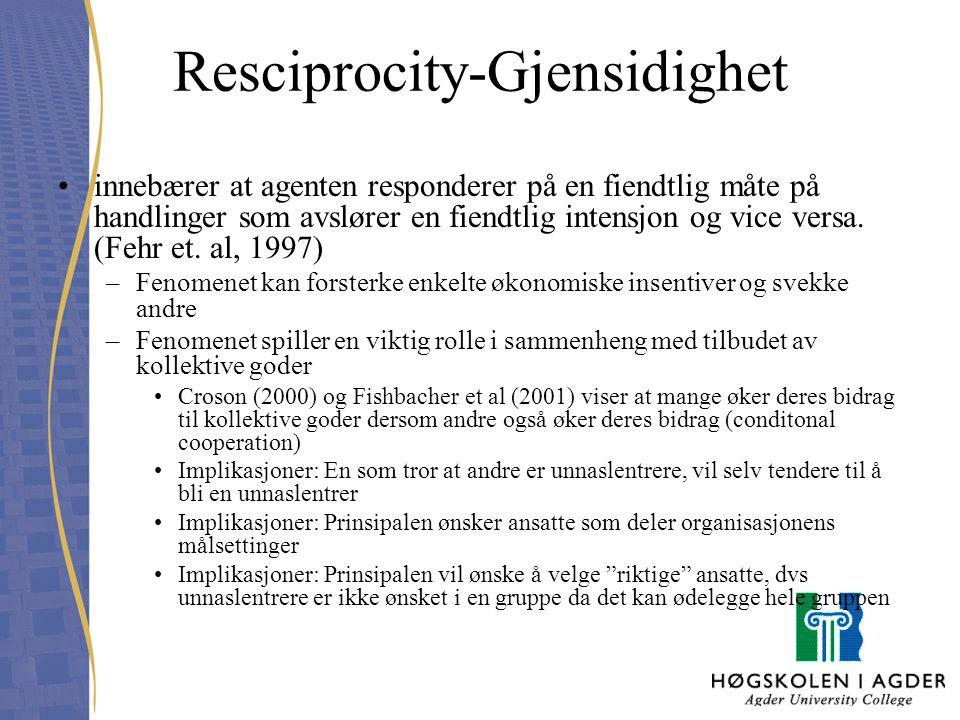 Resciprocity-Gjensidighet innebærer at agenten responderer på en fiendtlig måte på handlinger som avslører en fiendtlig intensjon og vice versa. (Fehr
