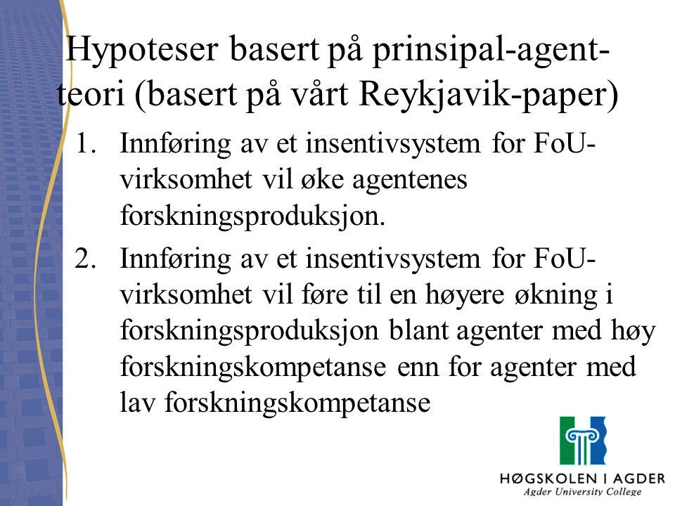 Hypoteser basert på prinsipal-agent- teori (basert på vårt Reykjavik-paper) 1.Innføring av et insentivsystem for FoU- virksomhet vil øke agentenes for