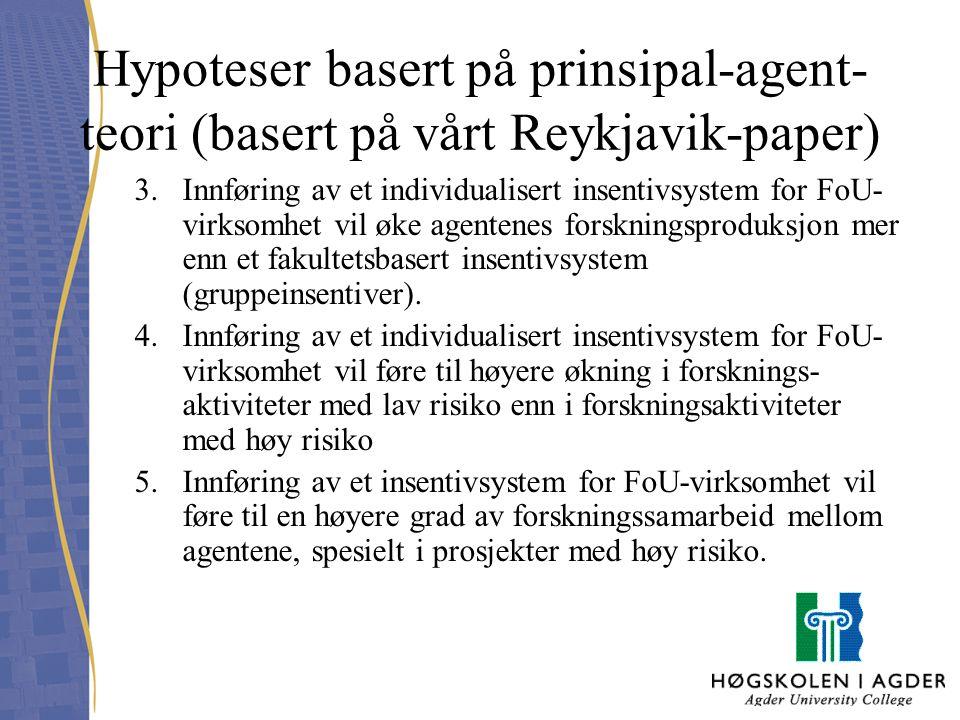 Hypoteser basert på prinsipal-agent- teori (basert på vårt Reykjavik-paper) 3.Innføring av et individualisert insentivsystem for FoU- virksomhet vil ø